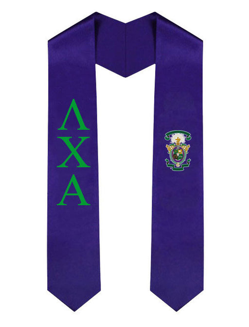 Lambda Chi Alpha Lettered Graduation Sash Stole with Crest