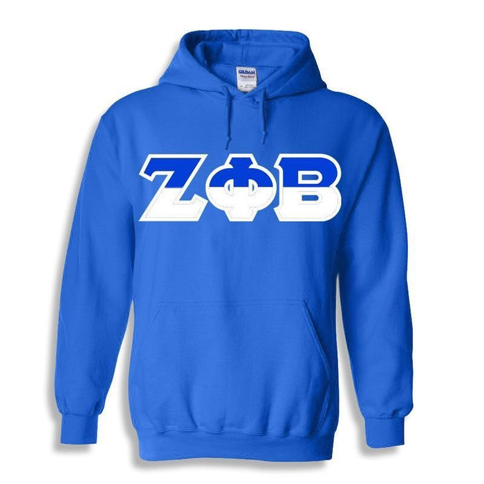 Zeta Phi Beta Two Toned Lettered Hooded Sweatshirt