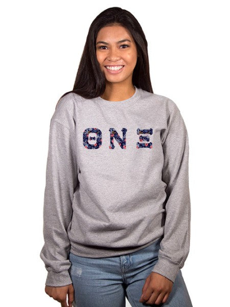 Theta Nu Xi Crewneck Sweatshirt with Sewn-On Letters