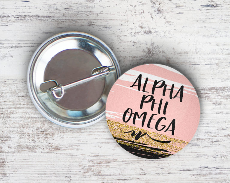 Alpha Phi Omega Rose Gold Button