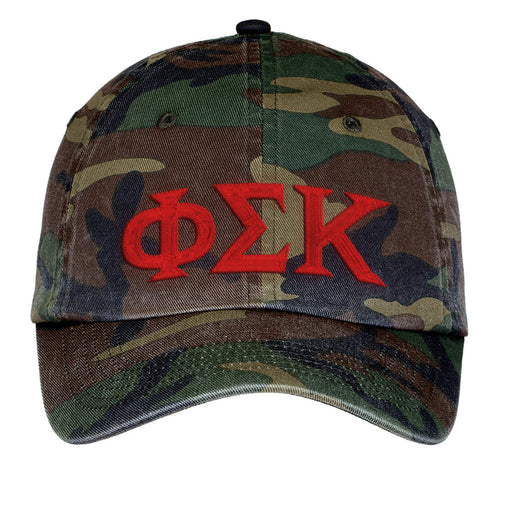 Phi Sigma Kappa Letters Embroidered Camouflage Hat