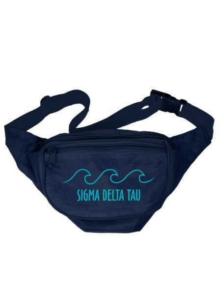 Sigma Delta Tau Wave Outline Fanny Pack