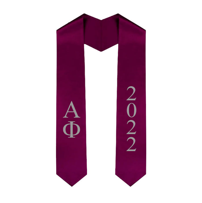 Alpha Phi Vertical Grad Stole with Letters & Year