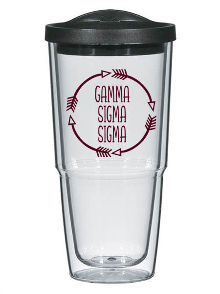 Gamma Sigma Sigma Circle Arrows 24 oz Tumbler with Lid