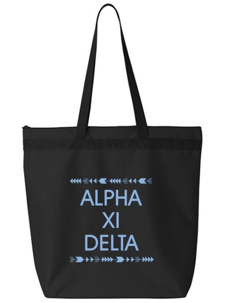 Alpha Xi Delta Arrow Top Bottom Tote Bag