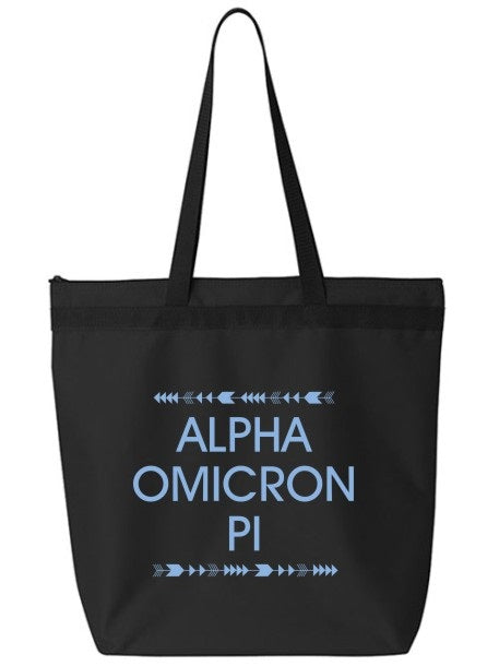 Alpha Omicron Pi Arrow Top Bottom Tote Bag