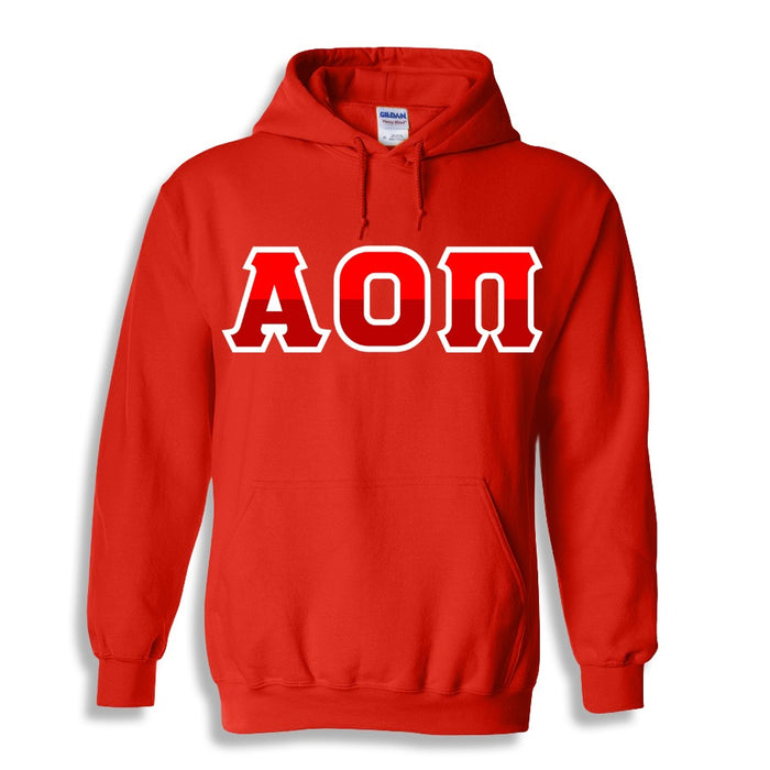 Alpha Omicron Pi Two Toned Lettered Hooded Sweatshirt