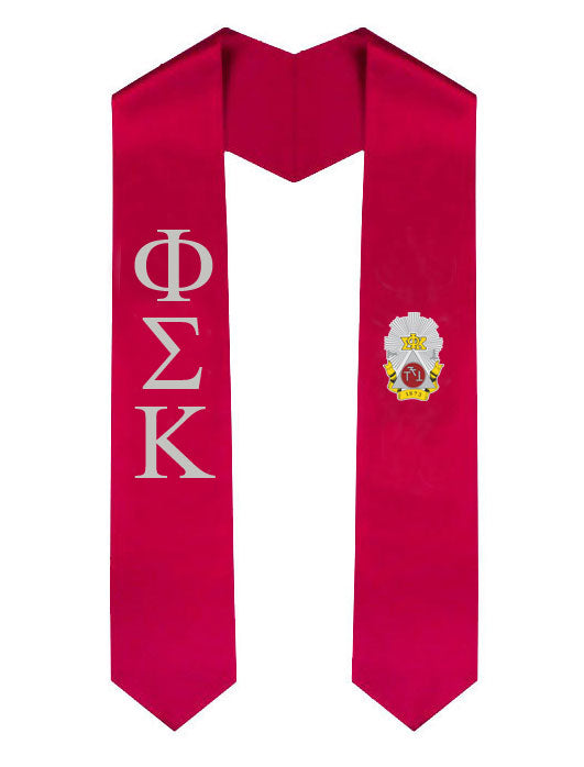 Phi Sigma Kappa Lettered Graduation Sash Stole with Crest