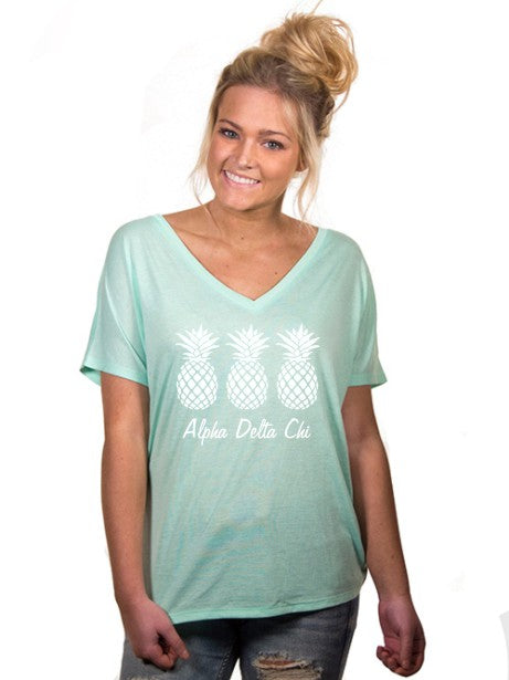 Alpha Delta Chi Pineapple Slouchy V-Neck Tee