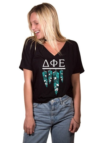 Delta Phi Epsilon Tribal Feathers Slouchy V-neck Tee