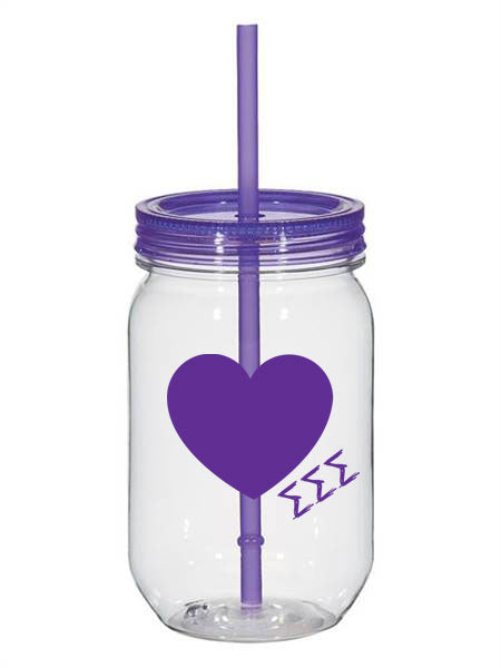 Sigma Sigma Sigma 25oz Scribbled Heart Mason Jar