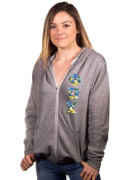 Phi Beta Chi Fleece Full-Zip Hoodie with Sewn-On Letters