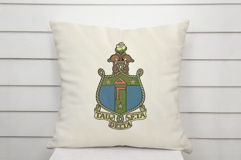 Delta Gamma Linen Shield Throw Pillow