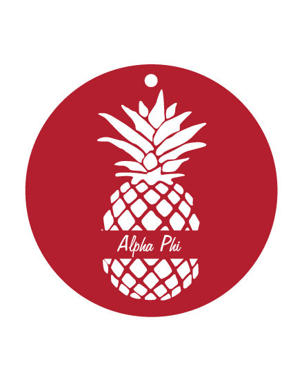 Alpha Phi White Pineapple Sunburst Ornament