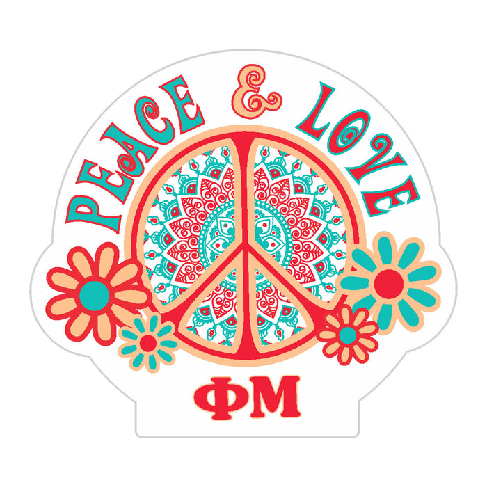 Phi Mu Peace Sticker