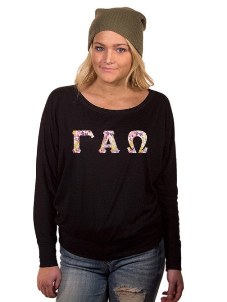 Gamma Alpha Omega Off the Shoulder Flowy Long Sleeve Shirt with Letters