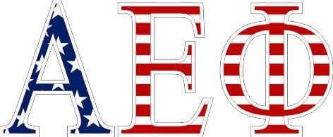 Alpha Epsilon Phi American Flag Letter Sticker - 2.5
