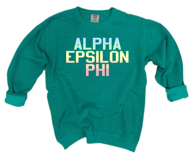 Alpha Epsilon Phi Comfort Colors Pastel Sorority Sweatshirt