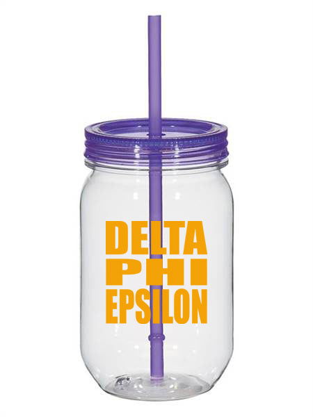 Delta Phi Epsilon Big Stacked Greek 25oz Mason Jar