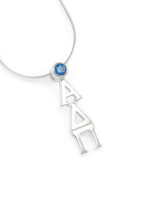 Alpha Delta Pi Sterling Silver Lavaliere Pendant with Swarovski Crystal