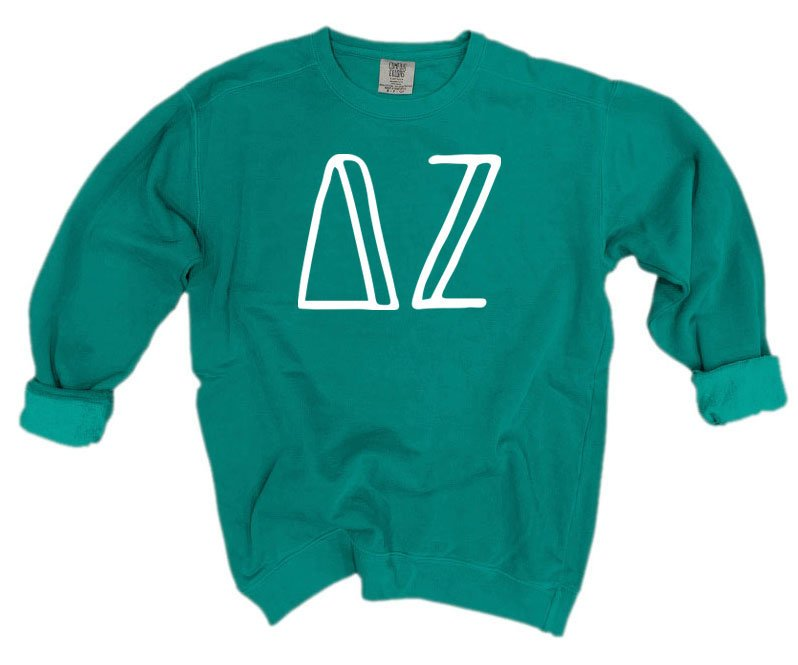 Delta Zeta Comfort Colors Greek Letter Sorority Crewneck Sweatshirt