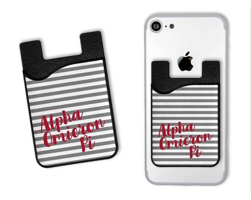 Alpha Omicron Pi Sorority Stripes Caddy Phone Wallet