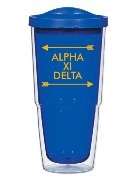Alpha Xi Delta Arrow Top Bottom 24oz Tumbler with Lid