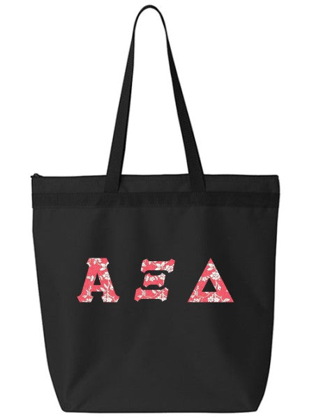 Alpha Xi Delta Large Zippered Tote Bag with Sewn-On Letters