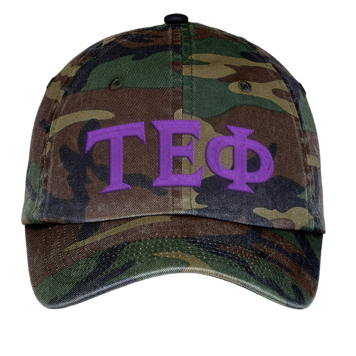 Tau Epsilon Phi Letters Embroidered Camouflage Hat