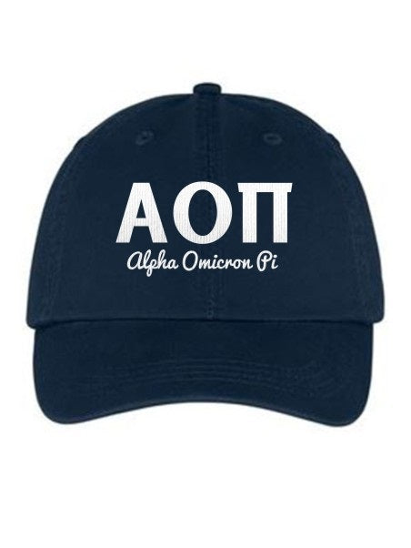 Alpha Omicron Pi Collegiate Curves Hat