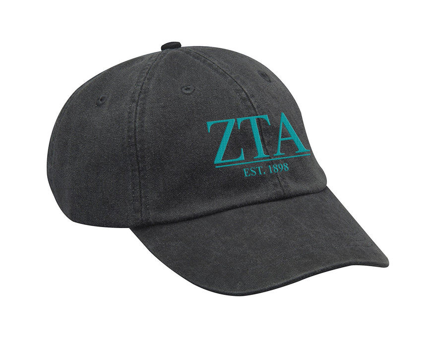 Zeta Tau Alpha Letters Year Embroidered Hat