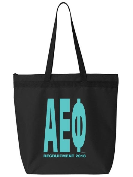 Alpha Epsilon Phi Impact Letters Zippered Poly Tote