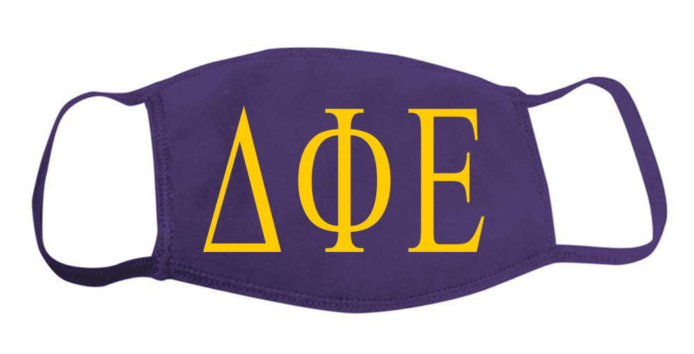 Delta Phi Epsilon Face Mask With Big Greek Letters