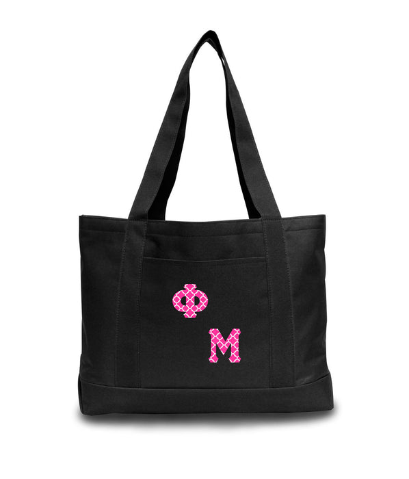 Phi Mu 2-Tone Boat Tote with Sewn-On Letters