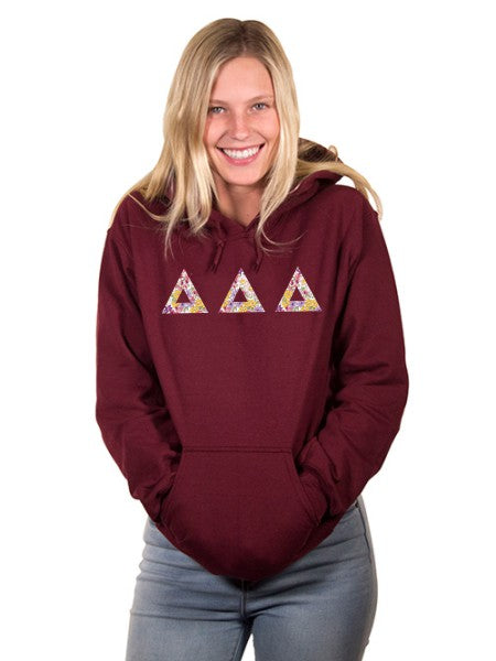 Delta Delta Delta Unisex Hooded Sweatshirt with Sewn-On Letters