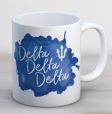 Delta Delta Delta Watercolor Script Coffee Mug