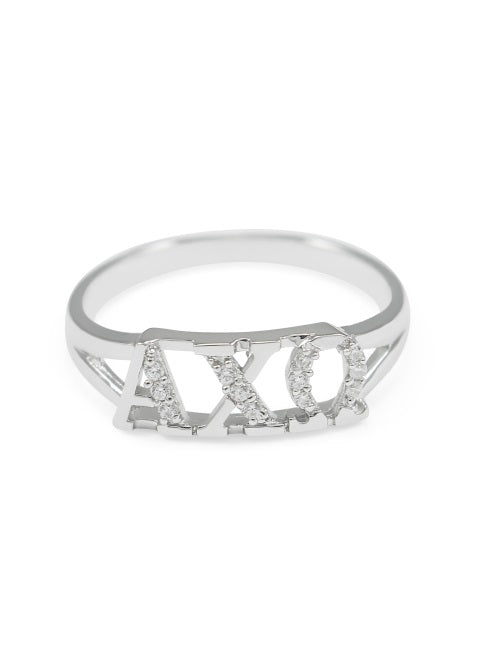 Alpha Chi Omega Sterling Silver Ring with Lab Created Clear Diamond