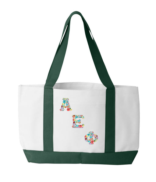 Alpha Epsilon Phi 2-Tone Boat Tote with Sewn-On Letters