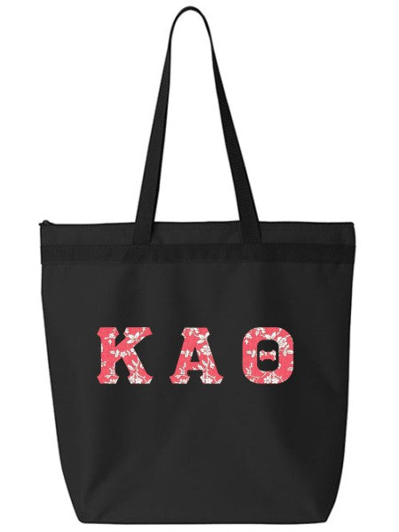 Kappa Alpha Theta Large Zippered Tote Bag with Sewn-On Letters