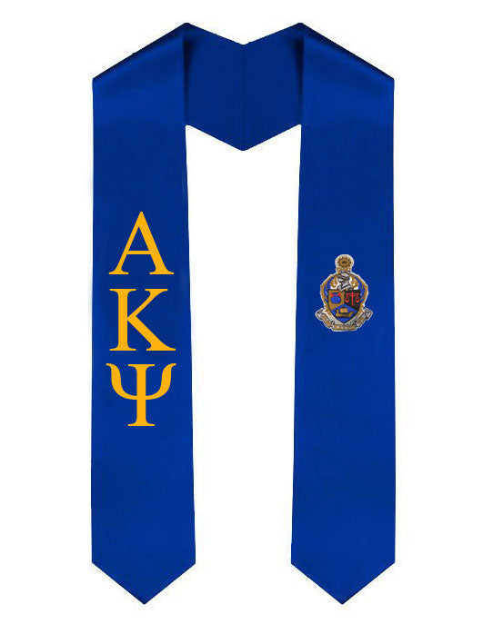 Alpha Kappa Psi Lettered Graduation Sash Stole with Crest