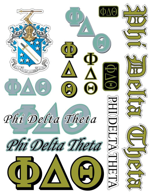 Phi Delta Theta Multi Greek Decal Sticker Sheet