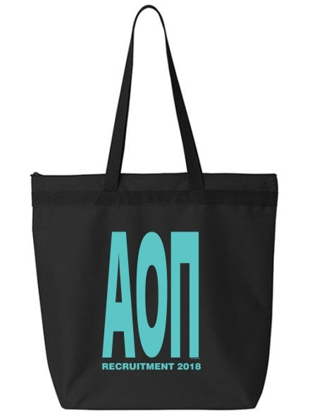 Alpha Omicron Pi Impact Letters Zippered Poly Tote