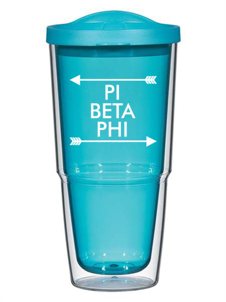 Pi Beta Phi Arrow Top Bottom 24oz Tumbler with Lid