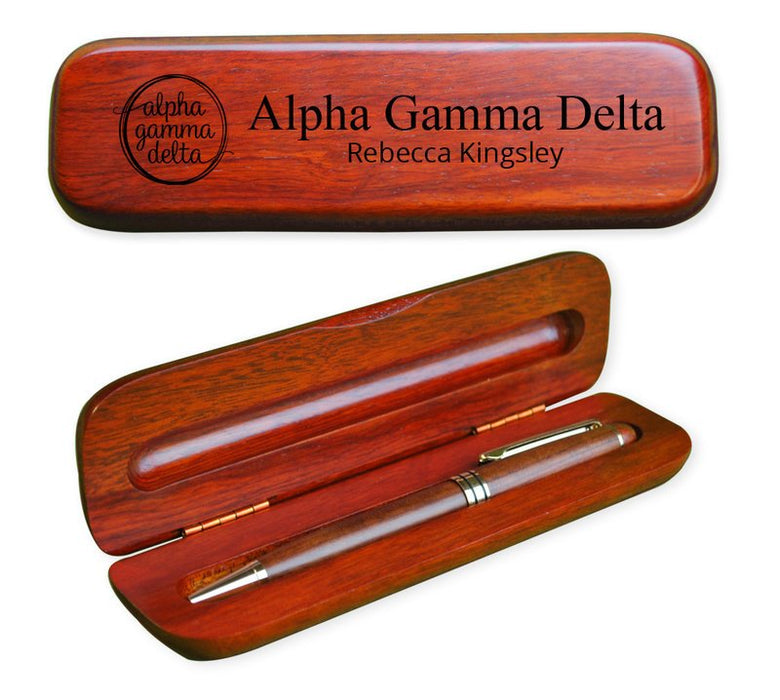 Alpha Gamma Delta Wooden Pen Case & Pen