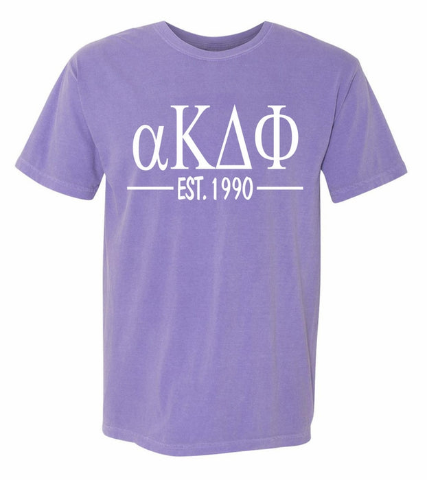 Alpha Kappa Delta Phi Comfort Colors Established Sorority T-Shirt
