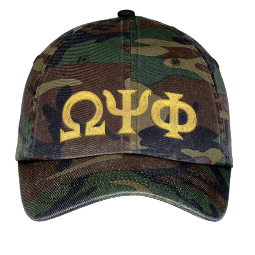 Omega Psi Phi Letters Embroidered Camouflage Hat