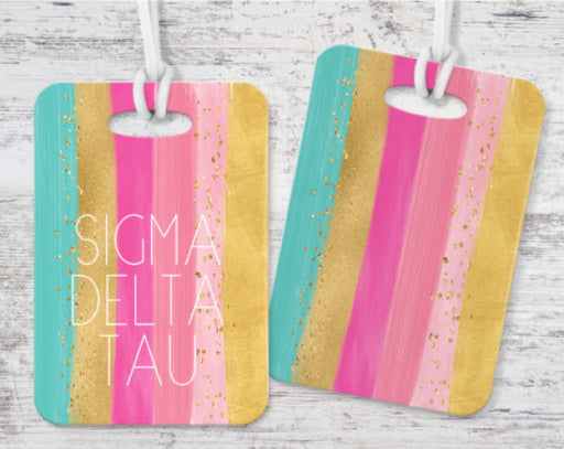 Sigma Delta Tau Bright Stripes Luggage Tag