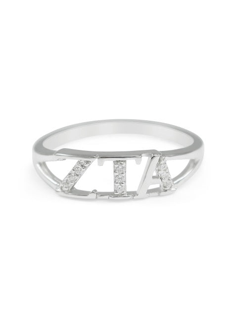 Zeta Tau Alpha Sterling Silver Ring with Lab Created Clear Diamond