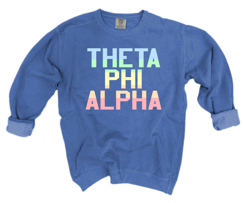Theta Phi Alpha Comfort Colors Pastel Sorority Sweatshirt