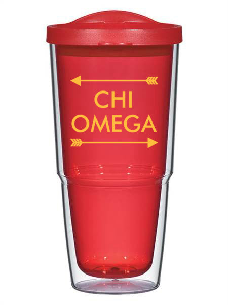 Chi Omega Arrow Top Bottom 24oz Tumbler with Lid